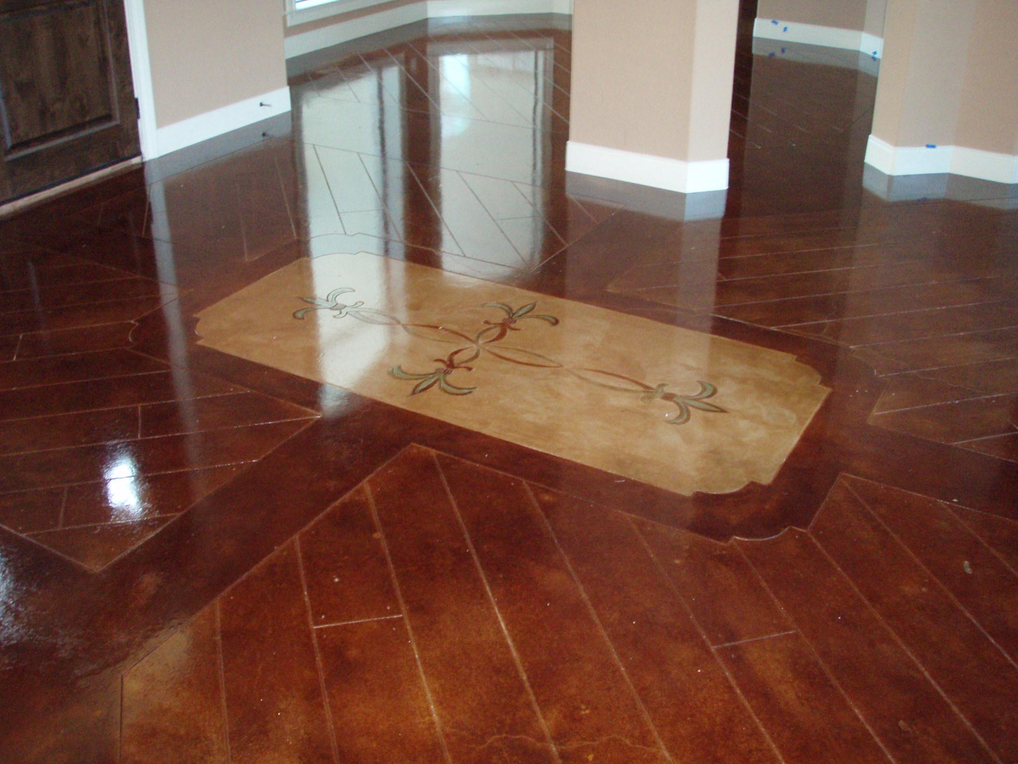 Scored floors vs hardwood home fatare for Vinegar on concrete floor